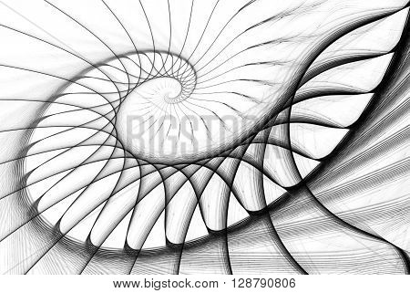 spiral staircase black on white. computer generated image
