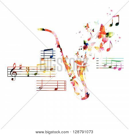 Vector illustration of colorful saxophone with butterflies