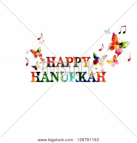Vector illustration of colorful Happy Hanukkah inscription