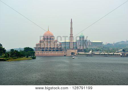 Putra Mosque in Putrajaya city (View from Seri Wawasan Bridge), Malaysia
