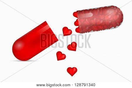 Red transparent pill full of glossy 3D hearts. 3D pill with falling red hearts. Halved pill full of beautifuil hearts. Love pill. Pill to heal broken heart. 3D medical pill with bunch of red hearts.
