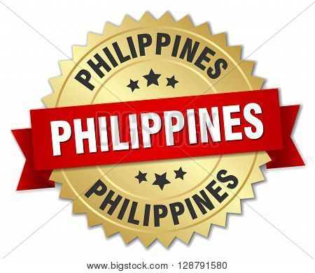 Philippines round golden badge with red ribbon