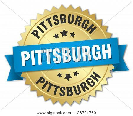 Pittsburgh round golden badge with blue ribbon