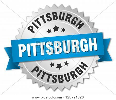 Pittsburgh round silver badge with blue ribbon