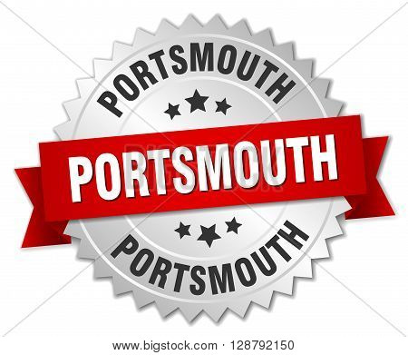 Portsmouth round silver badge with red ribbon