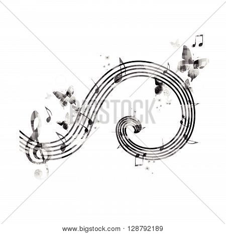 Vector illustration of music notes with butterflies