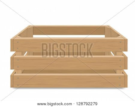 Empty wooden box for fruits and vegetables. Detailed vector illustration Isolated. Box for transportation and storage of products.