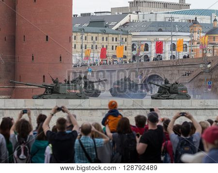 Moscow - May 7 2016: Military equipment at the dress rehearsal of the Victory parade and the people taking pictures of May 7 2016 Moscow Russia