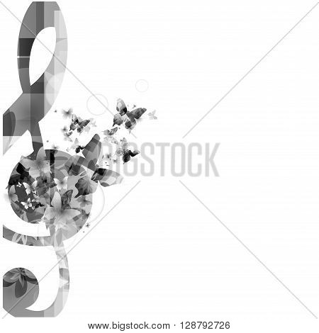 Vector illustration of music notes background with butterflies
