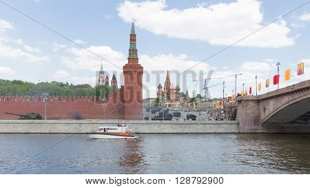 Moscow - May 7 2016: A powerful military equipment in dizhenii during the final rehearsal of the Victory Day parade on Red Square near the Kremlin May 7 2016 Moscow Russia