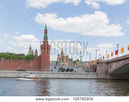 Moscow - May 7 2016: Powerful military equipment during the final rehearsal of the Victory Parade on Red Square near the Kremlin May 7 2016 Moscow Russia