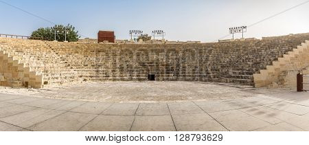 Ancient Roman theatre Kourion archaeological park in Cyprus