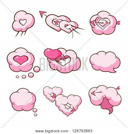Heart Shaped Cloud Set Of Flat Outlined Pink Cartoon Girly Style Icons On White Background