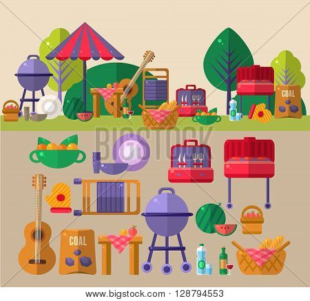 Barbeque Outdoors Object Flat Cartoon Vector Objects Set Presented In Two Setups In Relation To Each Other Above And Isolated Below