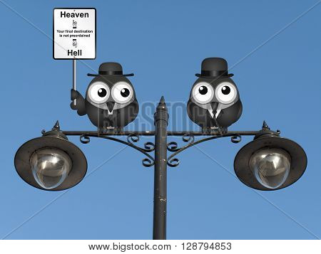 Bird vicar with destination heaven or hell sign and worried businessman perched on a lamppost against a clear blue sky