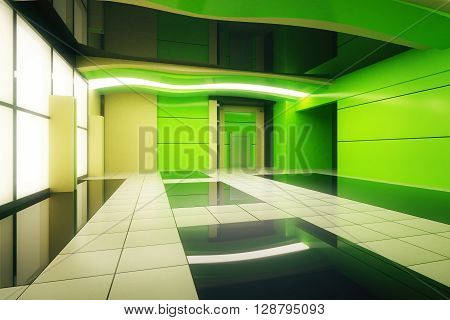 Unfurnished green futuristic interior. 3D Rendering. Close up