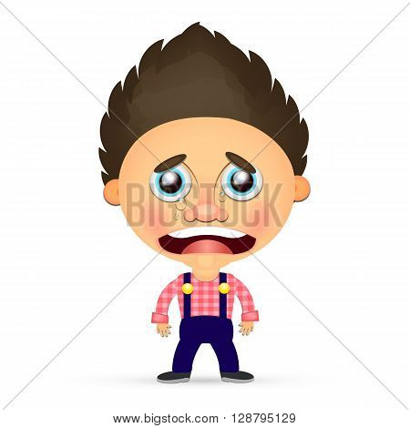 Vector Illustration of a young boy crying