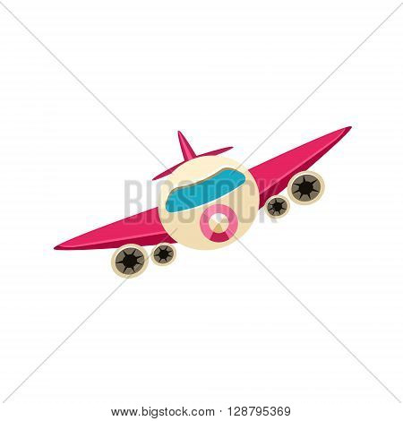 Jet Toy Aircraft Glossy Vector Drawing In Childish Fun Style Isolated On White Background