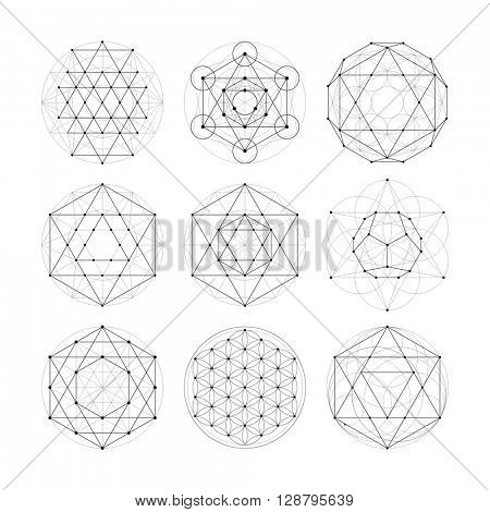 Sacred Geometry Symbols And Signes Vector Ilration Hipster Tattoo Flower Of Life Symbol