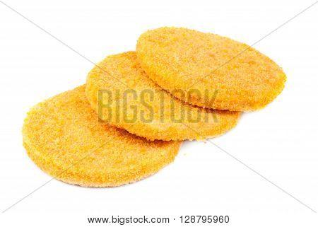 three fish burgers isolated on white background