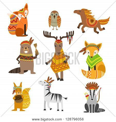 Animals Wearing Tribal Clothing Collection Of Colorful Flat Isolated Icons In Cool Detailed Artistic Design Isolated On White Background