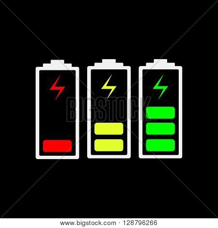Battery charging icons - vector illustration. The battery icons with a various level of charge. Set of color battery icons charge level