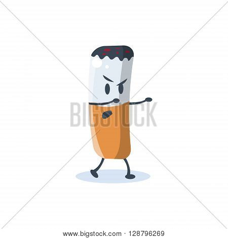 Cigarette Butt Cartoon Character  Simple Flat Vector Drawing In Childish Fun Style Isolated On White Background