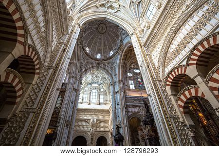 Cordoba, Spain- 12 March2015: La Mezquita Cathedral in Cordoba Spain. The cathedral was built inside of the former Great Mosque.
