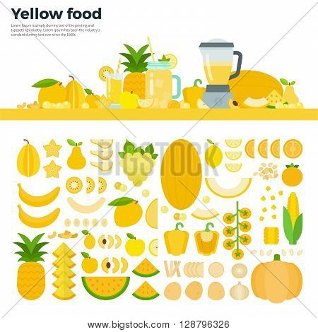 Yellow food vector flat illustrations. Yellow vegetables, fruits and blender on the table. Full of vitamins healthy eating concept. Yellow fruits and vegetables isolated on white background