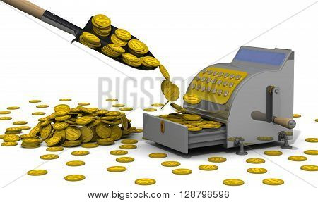 Financial success. The open cash register filled with USA coins shovel and a lot of coins on a white surface. The concept of financial success. 3D Illustration