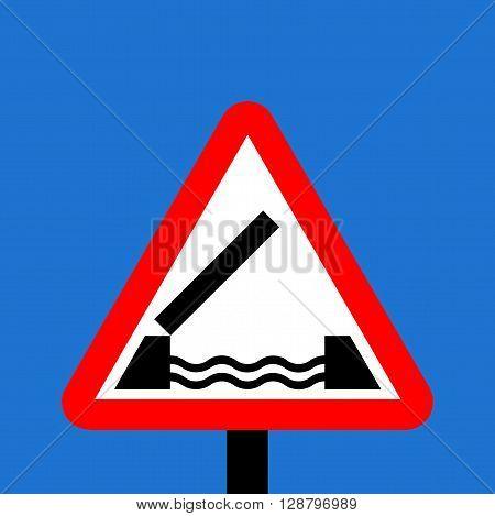 Warning triangle Opening or swing bridge ahead sign