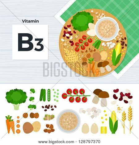 Vitamin B3 vector flat illustrations. Foods containing vitamin B3 on the table. Source of vitamin B3: carrot, potato, nuts, corn, mushroom, beans isolated on white background