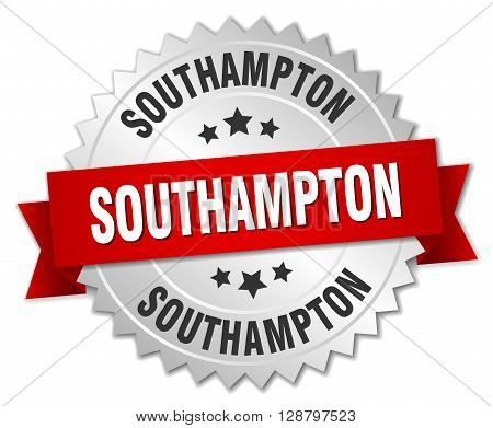 Southampton round silver badge with red ribbon