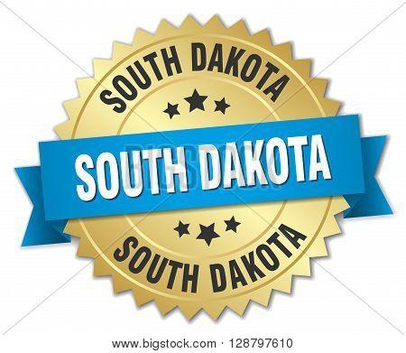 South Dakota round golden badge with blue ribbon