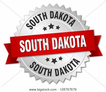 South Dakota round silver badge with red ribbon