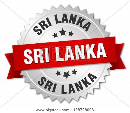 Sri Lanka round silver badge with red ribbon