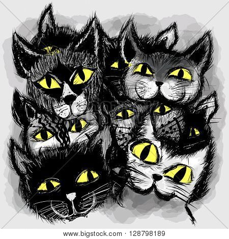 Set of cats in cartoon style - vector illustration