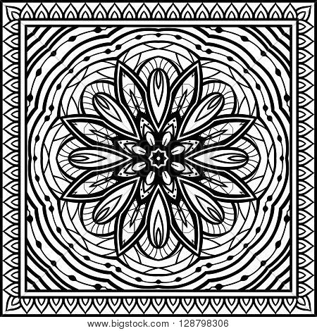 Abstract pattern on a white background. Oriental ornament. Template for carpet shawl wrap embroidery.