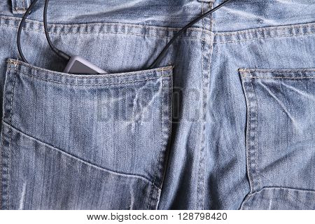 MP3 player in the Jeans ready to go.