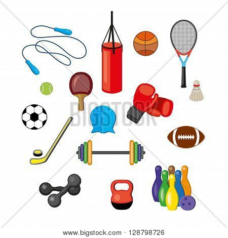 Modern vector illustration of sport equipments sports inventory