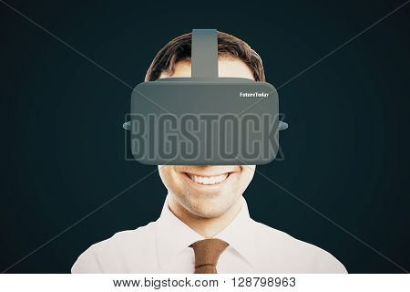 Smiling businessman with virtual reality helmet on dark background. 3D Rendering