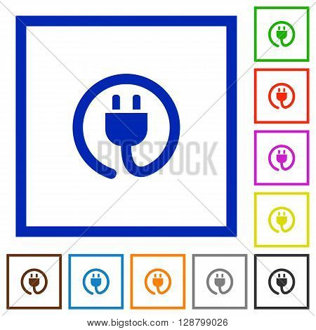 Set of color square framed Power cord flat icons on white background
