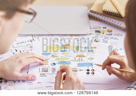 Rearview of businesspeople discussing business sketches on desktop with closed laptop and spiral notepads