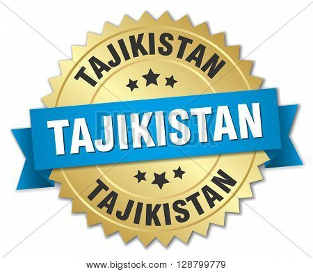 Tajikistan round golden badge with blue ribbon