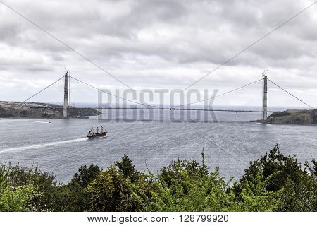 ISTANBUL TURKEY - APRIL 02 2016:The Yavuz Sultan Selim Bridgeinitially named the Third Bosphorus Bridge is a project to construct a bridge for rail and motor vehicle transit over the Bosphorus north of two existing bridges in Istanbul Turkey.