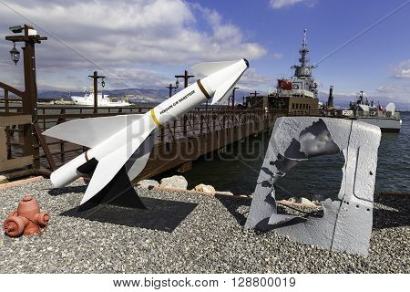 IZMIR TURKEY - FEBRUARY 21 2016: Unused missiles at the entrance of Ege and Piri Reis Museum Ships is a naval museum in the Inciralti neighborhood of Izmir's Balcova district in Turkey