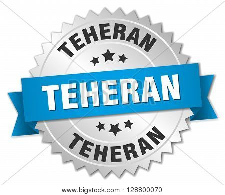 Teheran round silver badge with blue ribbon