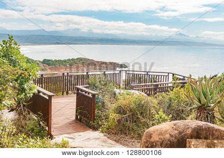 Viewpoint on a hill in Plettenberg Bay looking out over the Indian Ocean and the mouth of the Keurbooms River