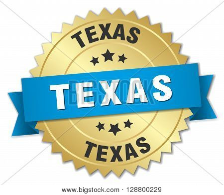 Texas round golden badge with blue ribbon