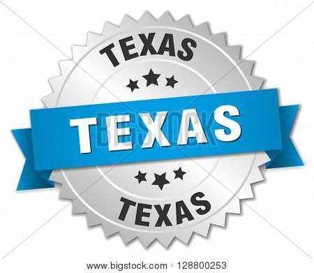 Texas round silver badge with blue ribbon